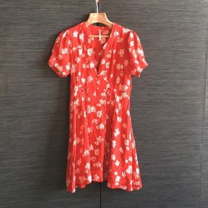 Free People Dream Girl red floral midi dress